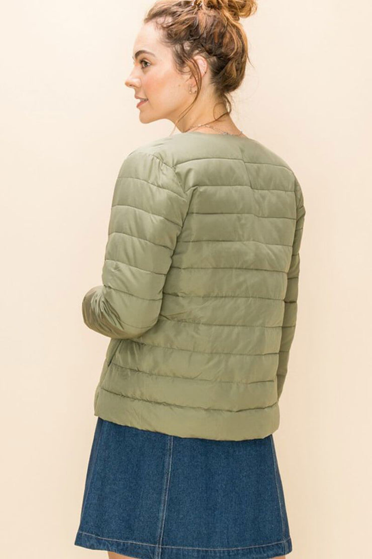 Quilted Layering Puffer Jacket sage back MILK MONEY