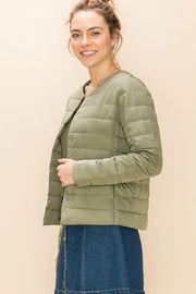 Quilted Layering Puffer Jacket sage side MILK MONEY