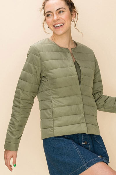Quilted Layering Puffer Jacket sage front MILK MONEY