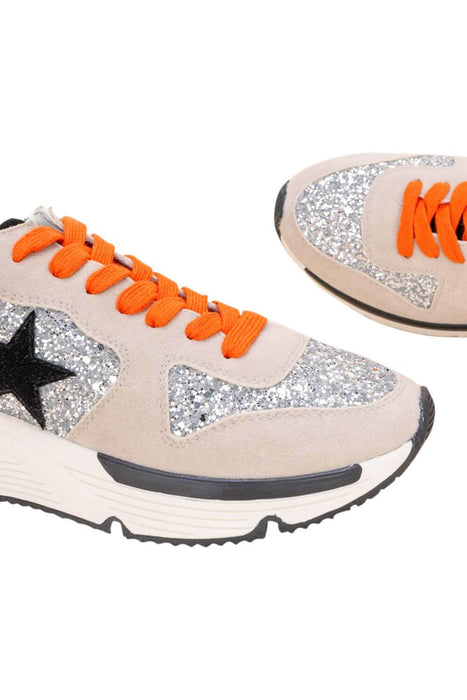 Quincy Silver Sparkle Platform Sneaker detail MILK MONEY