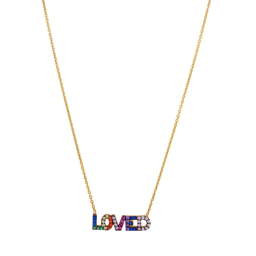 Rainbow Pave Loved Charm Necklace Gold MILK MONEY