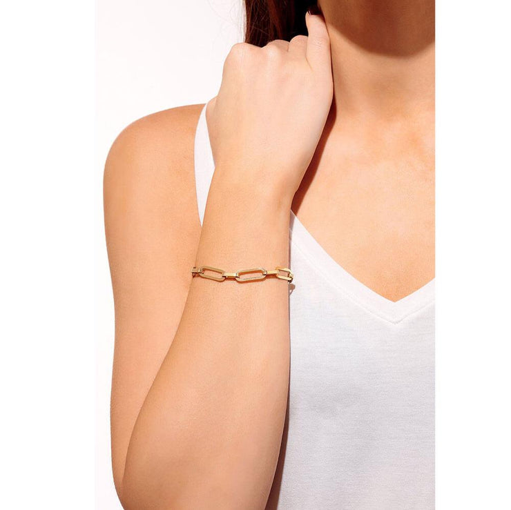 Rectangle Chain Link Bracelet Gold Model - MILK MONEY