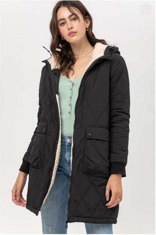 Reversible Quilted Sherpa Jacket black front MILK MONEY