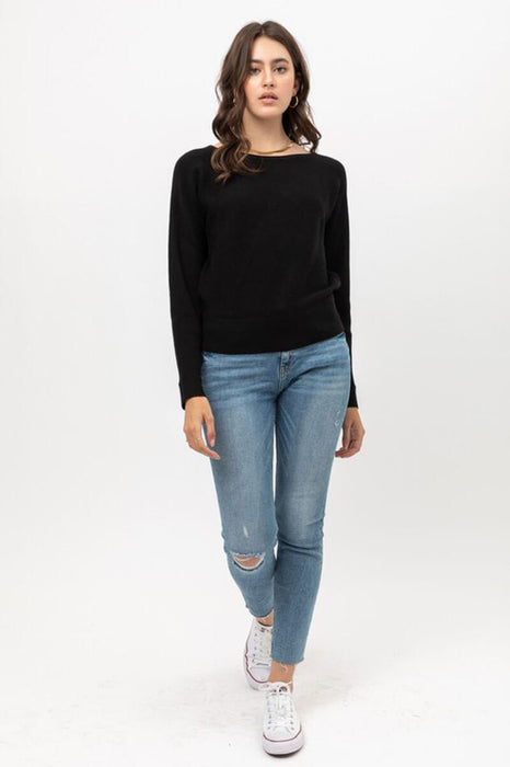 Ribbed Dolman Sleeve Sweater black front MILK MONEY
