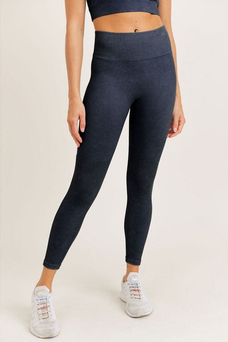 Ribbed Seamless Highwaist Leggings black front MILK MONEY