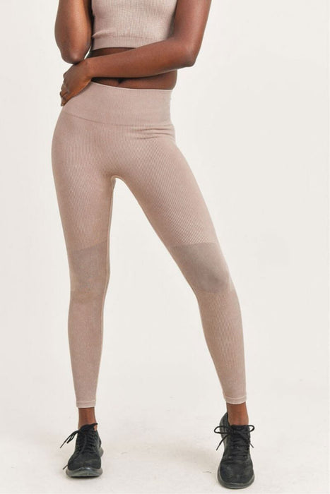 Ribbed Seamless Highwaist Leggings mushroom front MILK MONEY