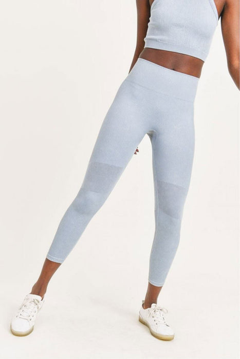Ribbed Seamless Highwaist Leggings ocean front MILK MONEY
