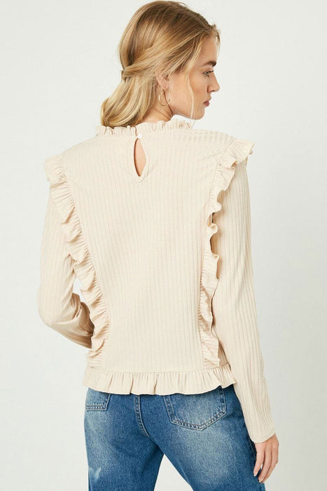 Ruffle Detailed Ribbed Long Sleeve Tee ivory back MILK MONEY