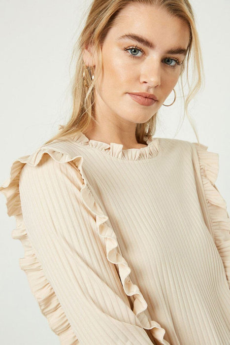Ruffle Detailed Ribbed Long Sleeve Tee ivory detail MIlk MONEY