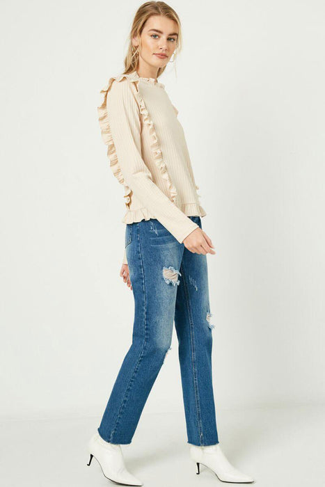 Ruffle Detailed Ribbed Long Sleeve Tee ivory full MILK MONEY