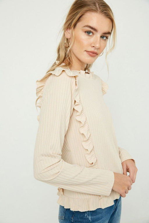 Ruffle Detailed Ribbed Long Sleeve Tee ivory side MILK MONEY