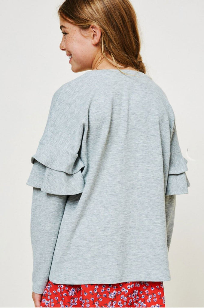 Ruffled Sleeve Top grey back MILK MONEY kids