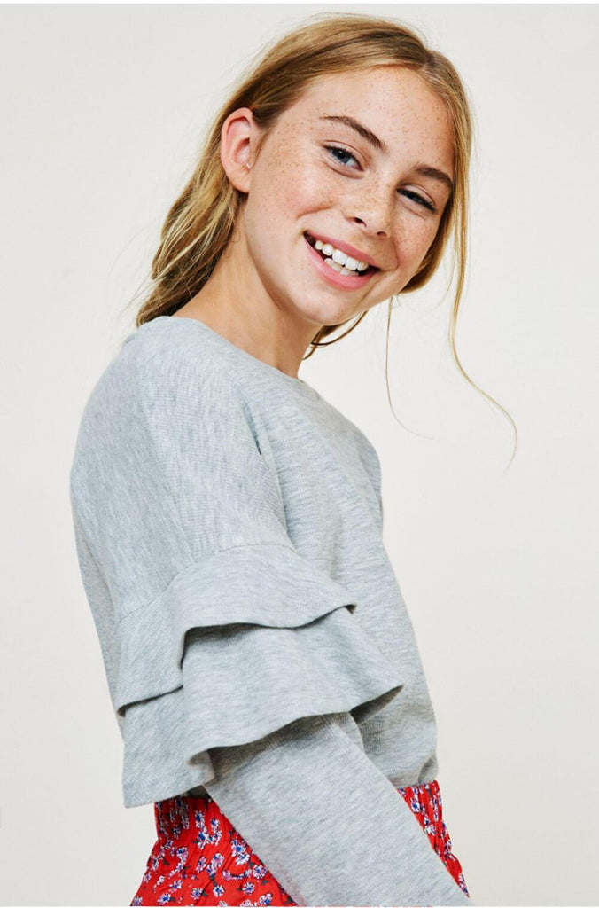 Ruffled Sleeve Top grey detail MILK MONEY Kids
