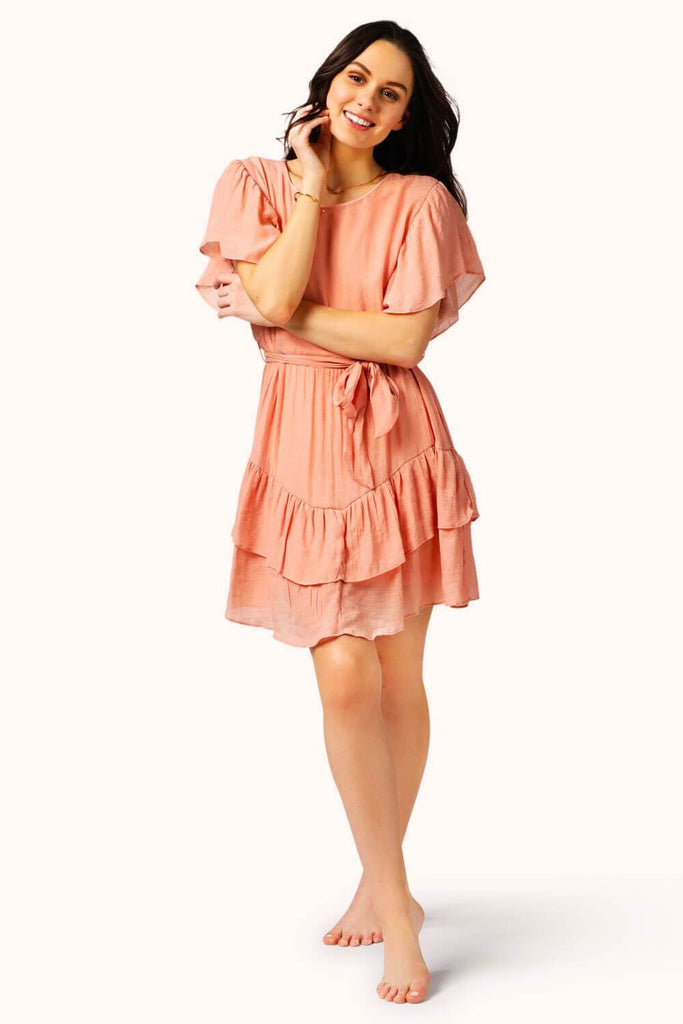 Ruffles Tie Mini Dress Peach MILK MONEY