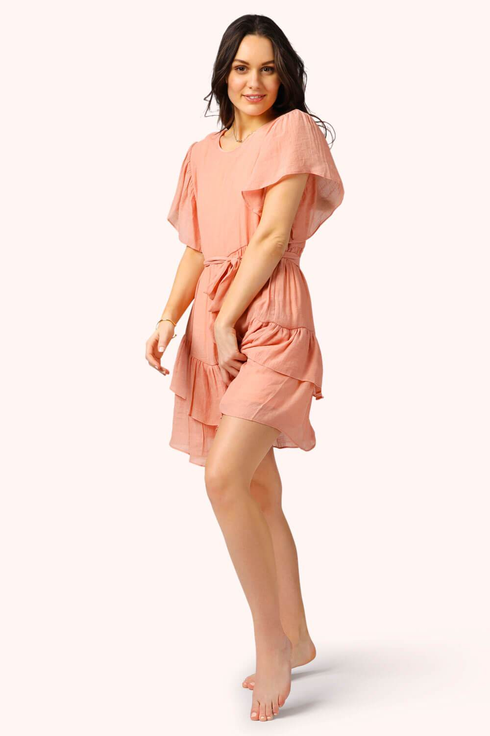 Ruffles Tie Mini Dress Peach MILK MONEY side