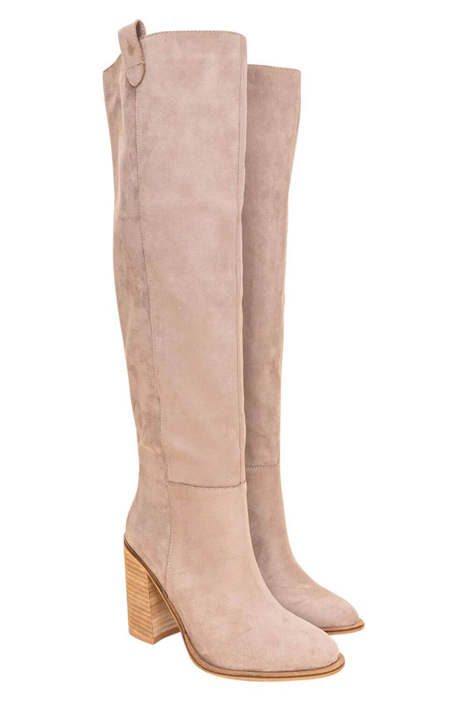 Saint Box Cut Block Heel Tall Boot taupe MILK MONEY