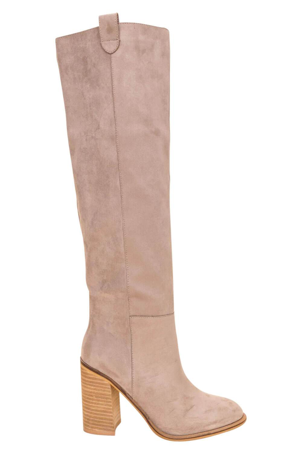 Saint Box Cut Block Heel Tall Boot taupe side MILK MONEY
