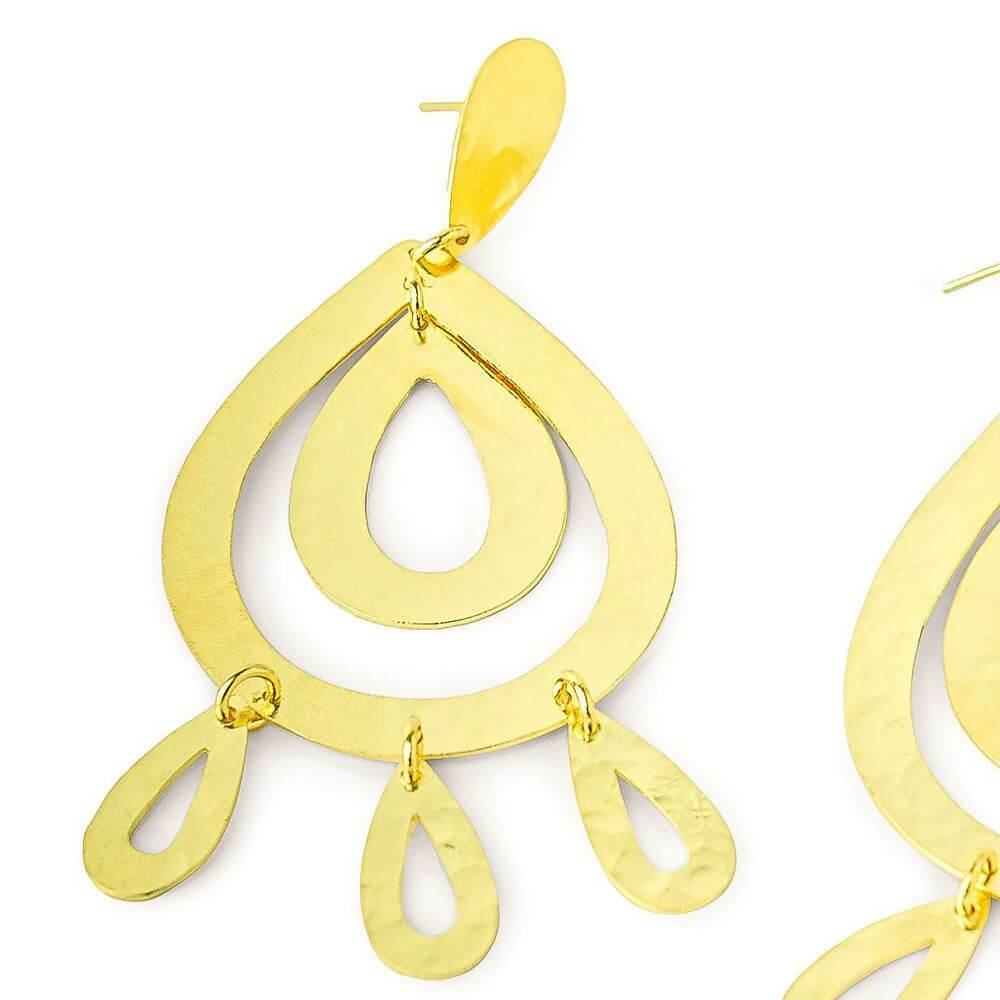 Sarah Gold Chandelier Earrings close up MILK MONEY