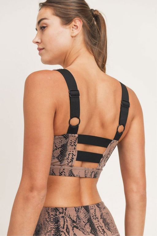 Serpentine Snake Print Sports Bra dark pink back detail MILK MONEY