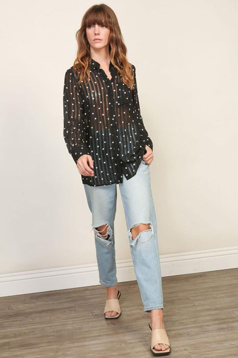 Sheer Polka Dot Blouse Top  black full MILK MONEY