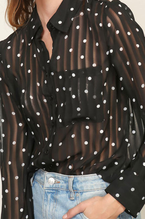 Sheer Polka Dot Blouse Top  black detail MILK MONEY