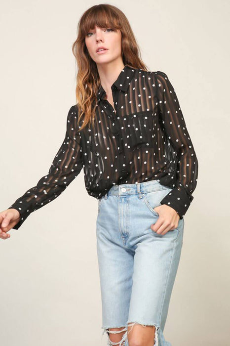 Sheer Polka Dot Blouse Top  black front MILK MONEY