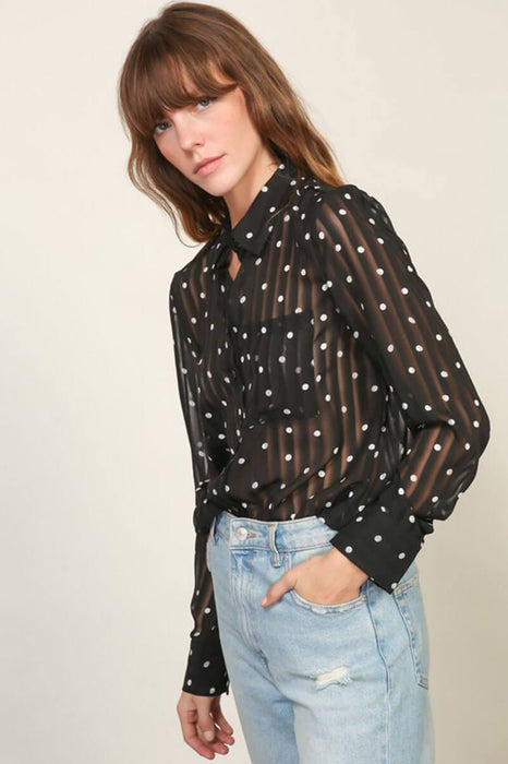 Sheer Polka Dot Blouse Top  black side MILK MONEY