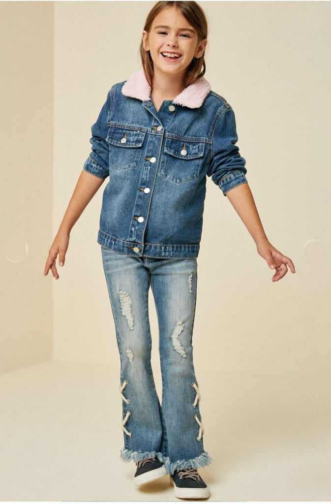 Sherpa Collar Denim Jacket blue full MILK MONEY Kids