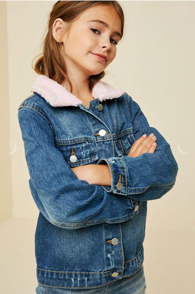 Sherpa Collar Denim Jacket blue side MILK MONEY Kids