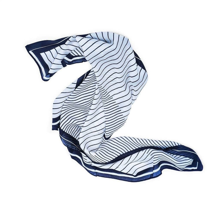Silk Lines Scarf Navy - MILK MONEY