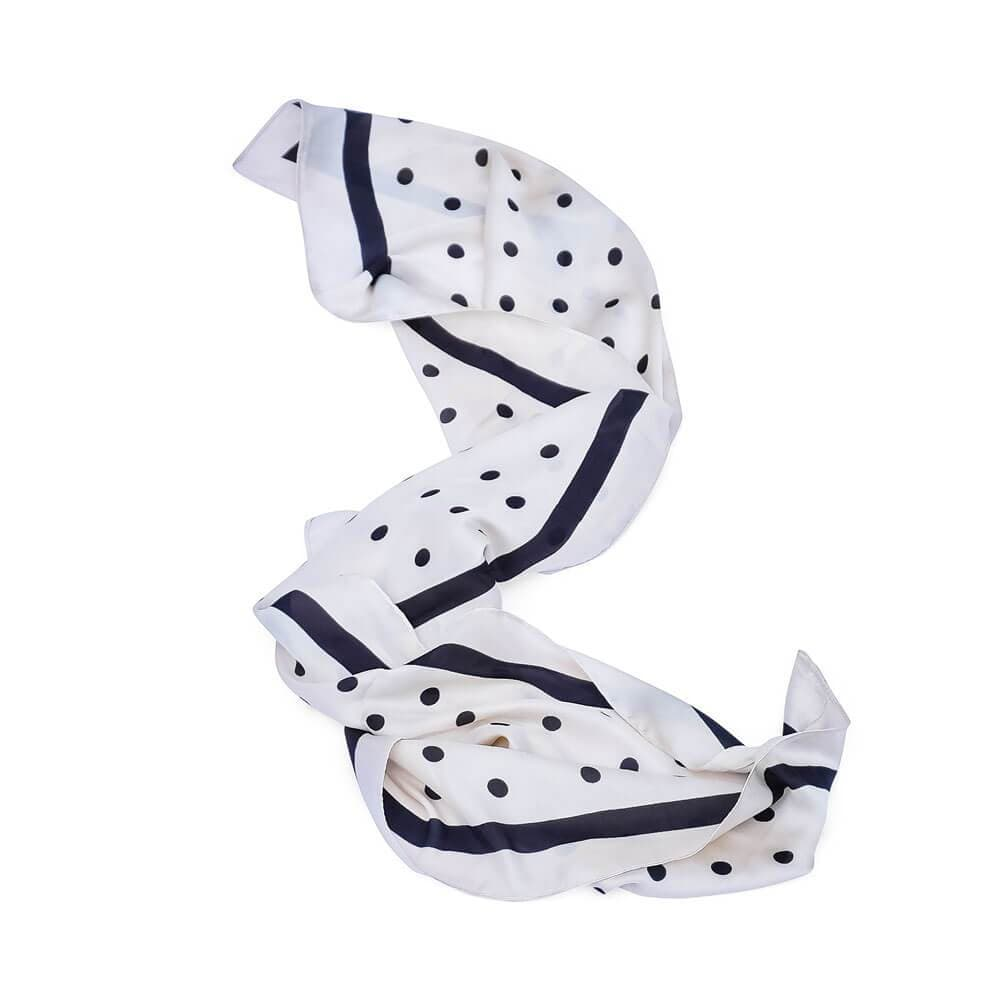 Silk Polka Dot Neck Scarf white navy - MILK MONEY