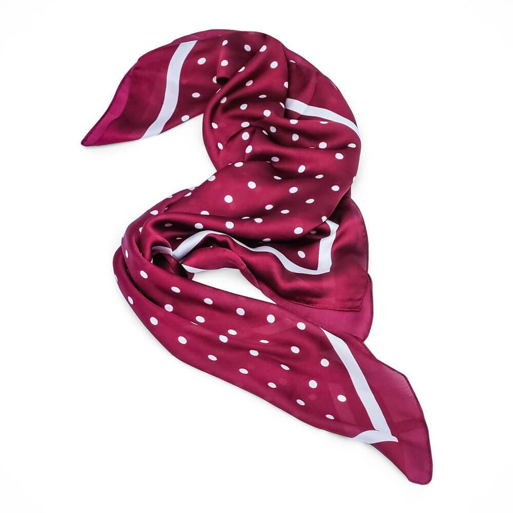 Silk Polka Dot Neck Scarf white burgundy - MILK MONEY