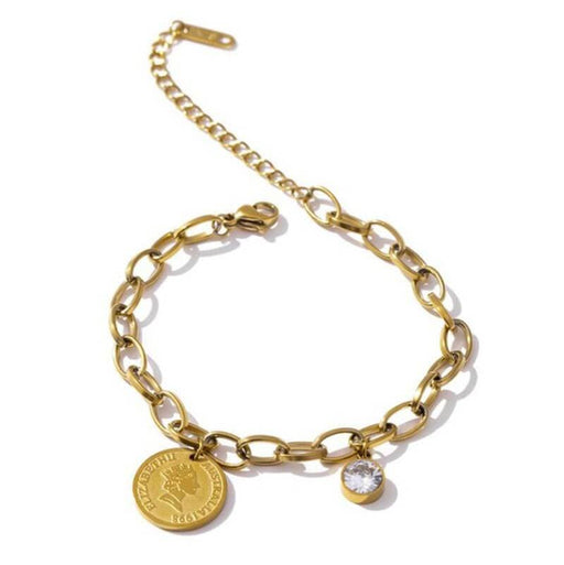 Simple Portrait Coin Pendant Charm Bracelet gold MILK MONEY