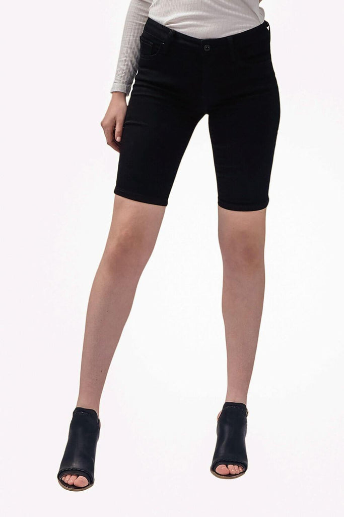 Skinny Bermuda Jean Shorts Black - MILK MONEY