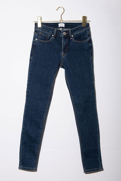 Skinny Mid Rise Jeans dark wash blue front MILK MONEY