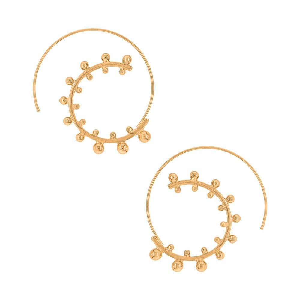 Slip Through Studded Hoop Earrings Gold - MILK MONEY