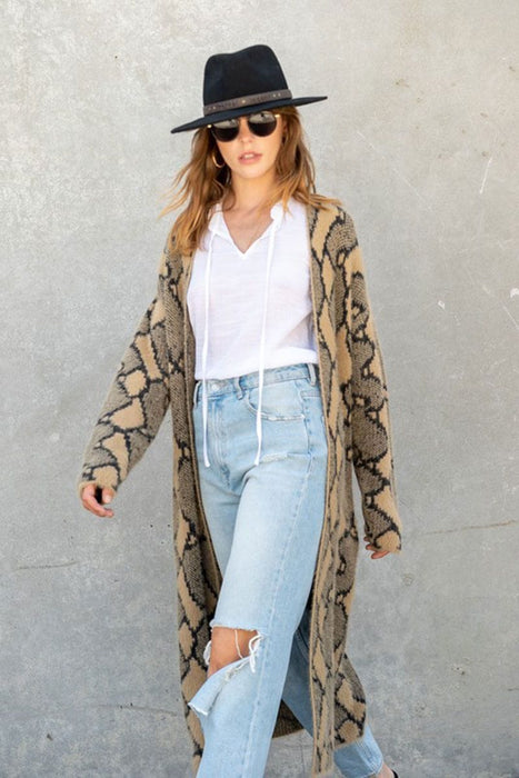 Snake Print Long Duster Jacket tan front MILK MONEY