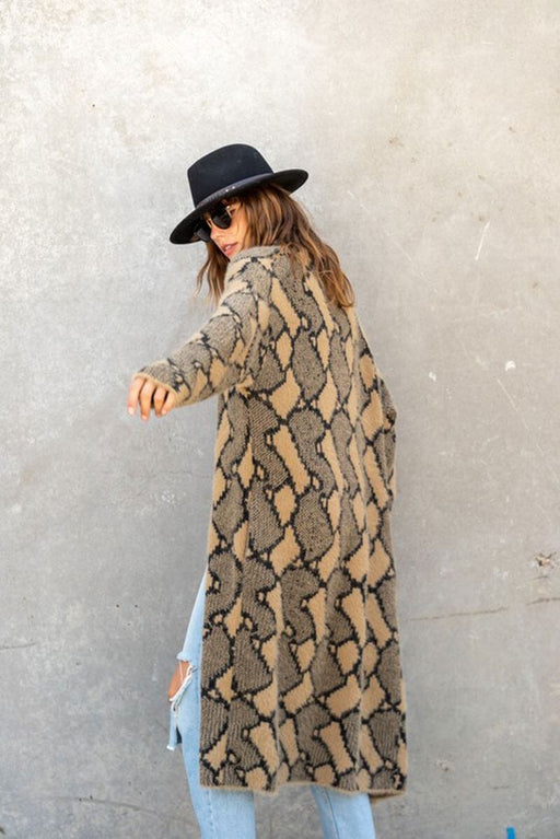 Snake Print Long Duster Jacket tan back MILK MONEY