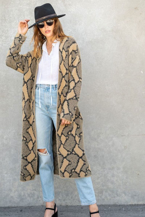 Snake Print Long Duster Jacket tan MILK MONEY