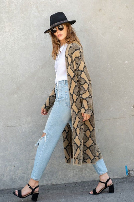 Snake Print Long Duster Jacket tan side MILK MONEY