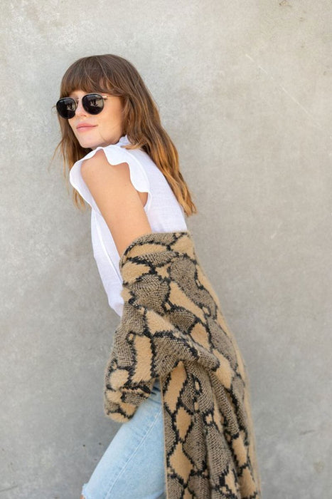 Snake Print Long Duster Jacket tan style MILK MONEY