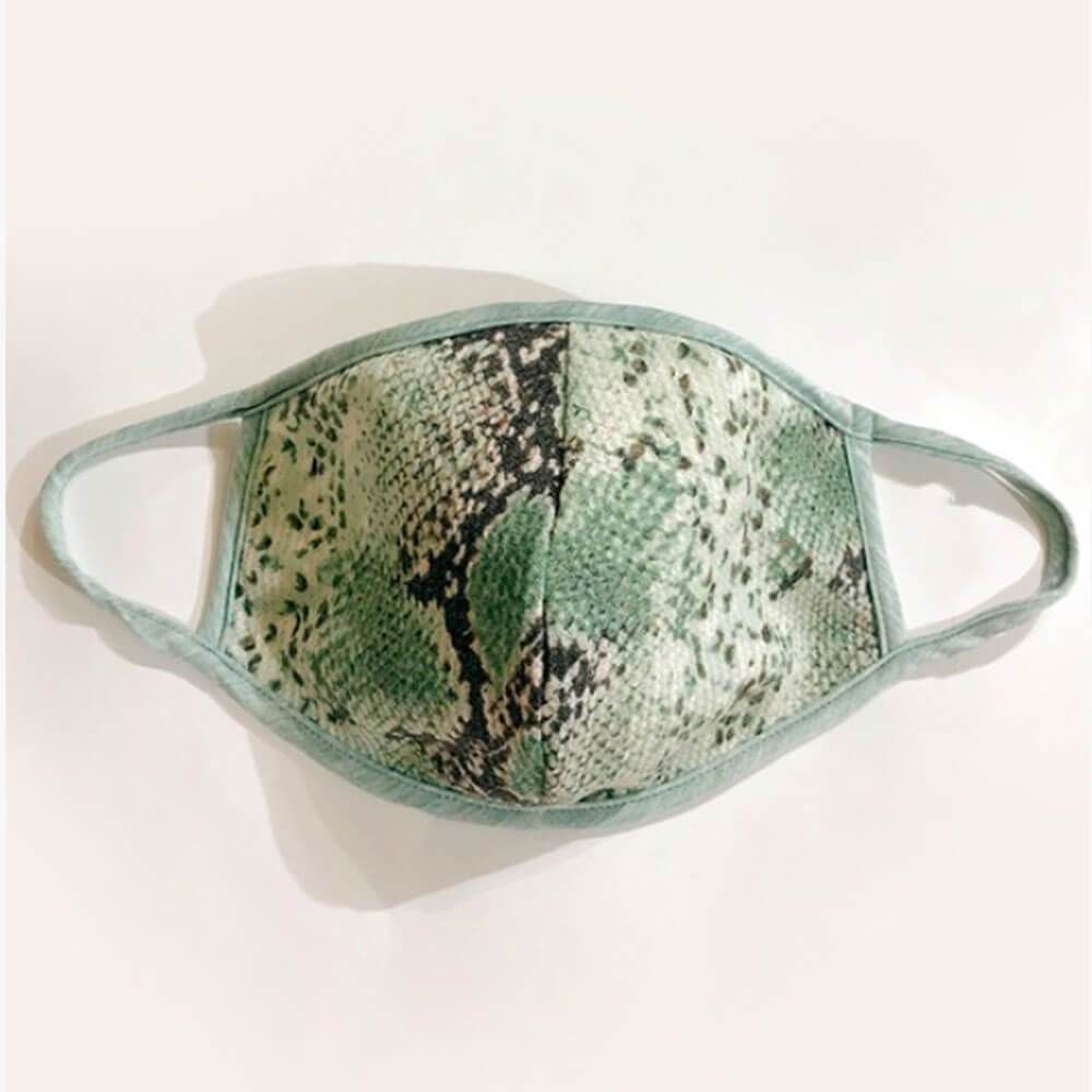 Snakeskin Print Protective Face Mask mint MILK MONEY