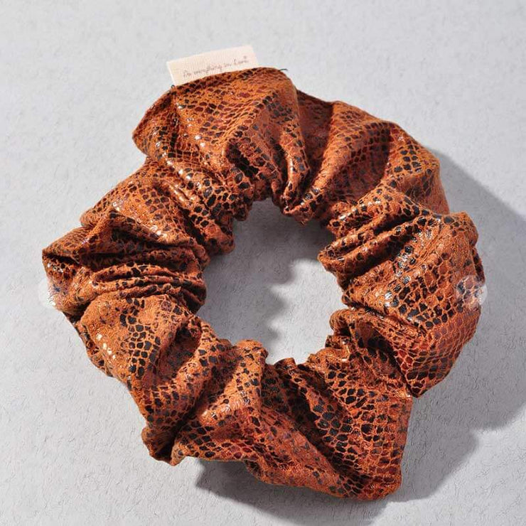 Snakeskin Suede Scrunchie brown MILK MONEY