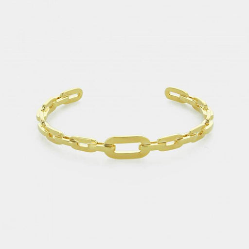 Solid Chain ID Cuff Bracelet gold front MILK MONEY
