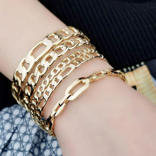 Solid Chain ID Cuff Bracelet gold group model MILK MONEY