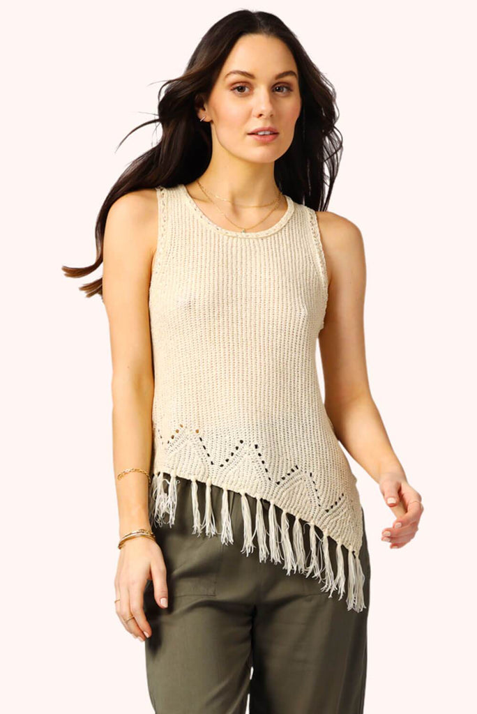 Sophie Asymmetrical Fringe Top Cream MILK MONEY
