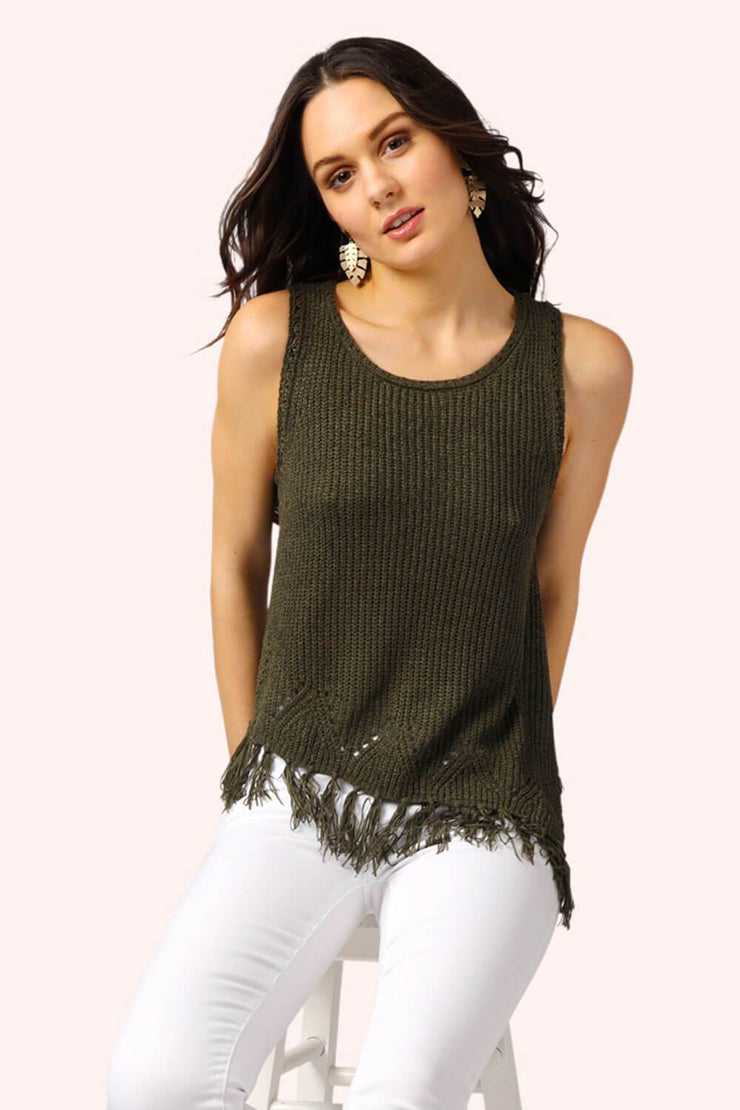 Sophie Asymmetrical Fringe Top Olive MILK MONEY