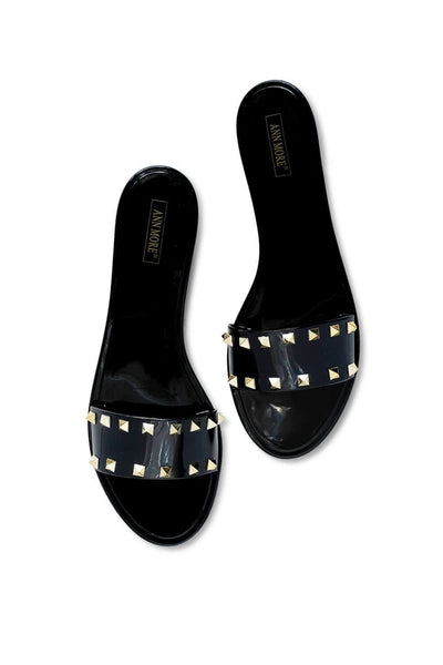 Spiked Studded Slides Black MILK MONEY