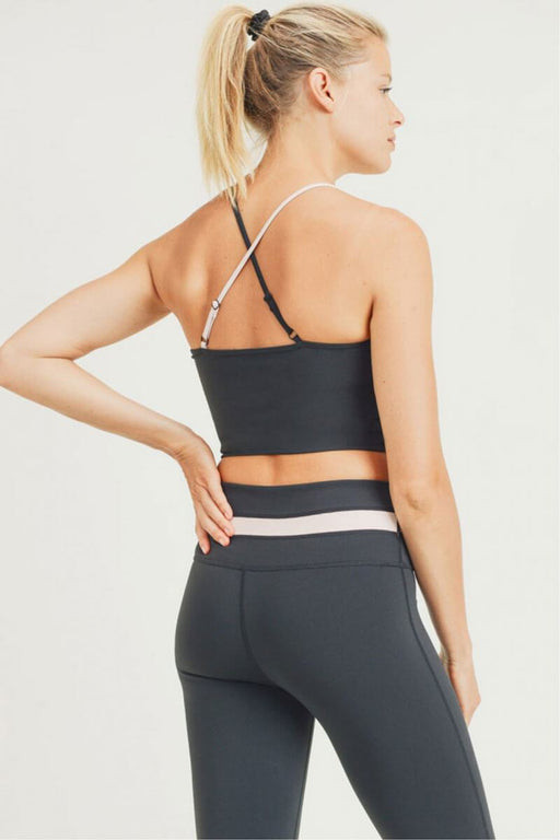 Split Screen X-Back Cami Crop Top black nude back MILK MONEY