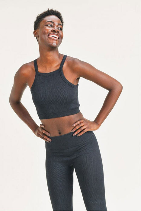 Square Front Ribbed Cropped Tank Top black front MILK MONEY